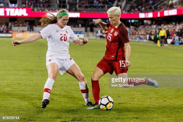 Megan Rapinoe Forward for USA challenged by Maegan Kelly Midfielder for Canada just outside the box during the first half of the international...