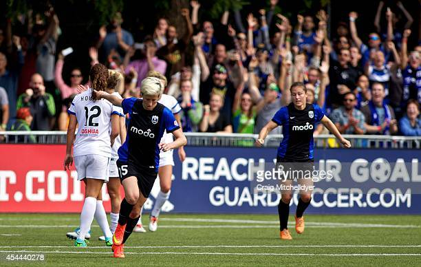 Megan Rapinoe of Seattle Reign FC reacts after scoring a goal in the second half of the National Women's Soccer League Championship on August 31 2014...