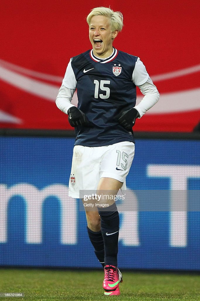 <a gi-track='captionPersonalityLinkClicked' href=/galleries/search?phrase=Megan+Rapinoe&family=editorial&specificpeople=736784 ng-click='$event.stopPropagation()'>Megan Rapinoe</a> of the United States celebrates her team's second goal during the Women's International Friendly match between Germany and the United States at Sparda-Bank-Hessen-Stadion on April 5, 2013 in Offenbach, Germany.