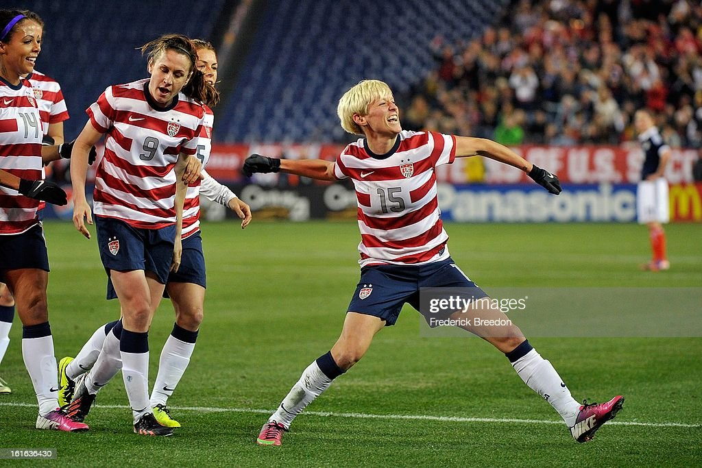 <a gi-track='captionPersonalityLinkClicked' href=/galleries/search?phrase=Megan+Rapinoe&family=editorial&specificpeople=736784 ng-click='$event.stopPropagation()'>Megan Rapinoe</a> #15 of the U.S. Womens National Team celebrates after scoring a goal against Scotland at LP Field on February 13, 2013 in Nashville, Tennessee.