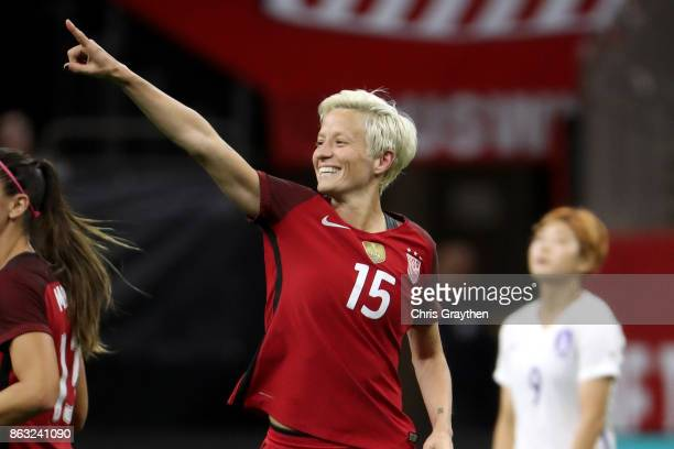 Megan Rapinoe of the USA celebrates after scoring a goal against the Korea Republic at the MercedesBenz Superdome on October 19 2017 in New Orleans...