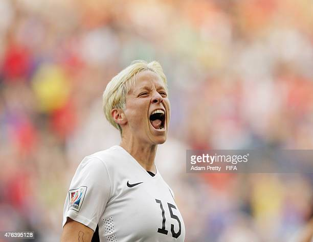 Megan Rapinoe of United States of America celebrates scoring the first goal during the FIFA Women's World Cup Canada 2015 Group D match between USA...