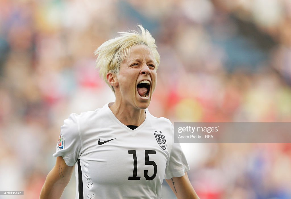 <a gi-track='captionPersonalityLinkClicked' href=/galleries/search?phrase=Megan+Rapinoe&family=editorial&specificpeople=736784 ng-click='$event.stopPropagation()'>Megan Rapinoe</a> of United States of America celebrates scoring the first goal during the FIFA Women's World Cup Canada 2015 Group D match between USA and Australia at Winnipeg Stadium on June 8, 2015 in Winnipeg, Canada.