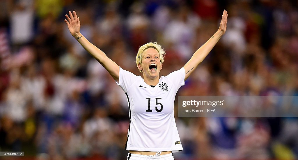 <a gi-track='captionPersonalityLinkClicked' href=/galleries/search?phrase=Megan+Rapinoe&family=editorial&specificpeople=736784 ng-click='$event.stopPropagation()'>Megan Rapinoe</a> of USA celebrates after winning the FIFA Women's World Cup 2015 Semi Final match between USA and Germany at Olympic Stadium on June 30, 2015 in Montreal, Canada.