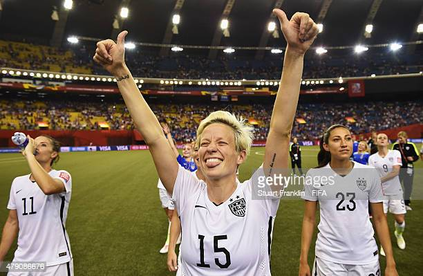 Megan Rapinoe of USA celebrates her team's win at the end of the FIFA Women's World Cup Semi Final match between USA and Germany at Olympic Stadium...
