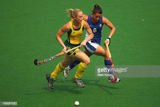 Megan Rivers of Australia and Emily Maguire of Scotland compete for the ball during the Women's Pool A match between Australia and Scotland at Major...