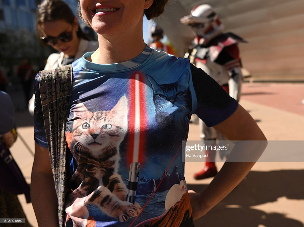 Megan Royer rocket her cat Star Wars shirt outside the Denver Art Museum, May 04, 2016. The museum held a May the 4th Be With You event to kick off ticket sales for the upcoming exhibition, Star Wars and the Power of Costume, opening at the DAM in November.