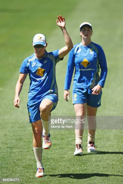 Megan Schutt and Amanda Wellington of Australia warms up during a Southern Stars training session at Adelaide Oval on February 21 2017 in Adelaide...