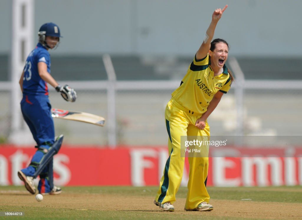 Megan Schutt of Australia appeals successfully for the wicket of Charlotte Edwards captain of Egnland during the super six match between England and Australia held at the CCI (Cricket Club of India) on February 8, 2013 in Mumbai, India.