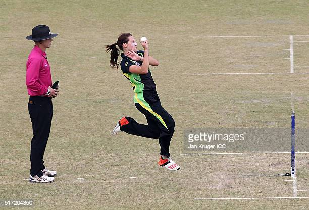 Megan Schutt of Australia bowls during the Women's ICC World Twenty20 India 2016 match between Australia and Sri Lanka at Feroz Shah Kotla Ground on...