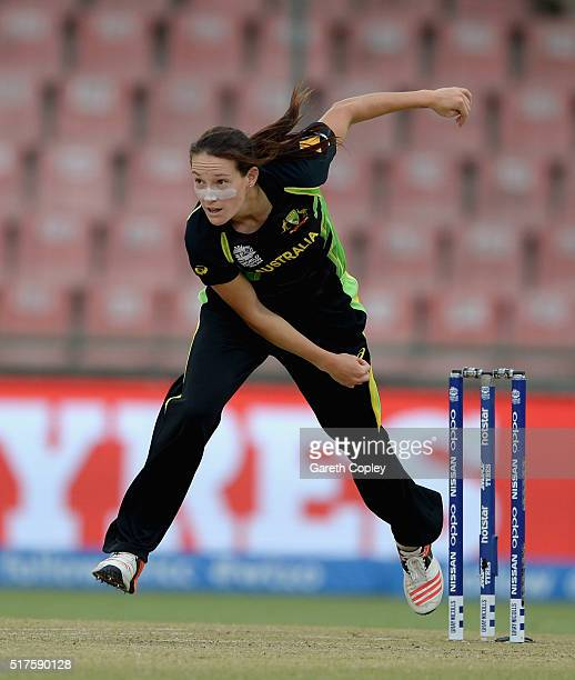 Megan Schutt of Australia bowls during the Women's ICC World Twenty20 India 2016 match between Australia and Ireland at Feroz Shah Kotla Ground on...