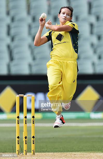 Megan Schutt of Australia bowls during the women's Twenty20 International match between Australia and India at Adelaide Oval on January 26 2016 in...