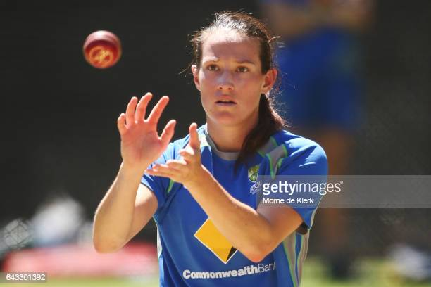 Megan Schutt of Australia catches a training ball during a Southern Stars training session at Adelaide Oval on February 21 2017 in Adelaide Australia