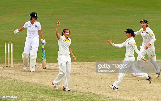 Megan Schutt of Australia celebrates taking the wicket of Charlotte Edwards of England during the day two of the Kia Women's Test of the Women's...