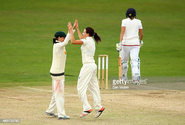 Megan Schutt of Australia celebrates taking the wicket of Laura Marsh of England during day two of the Kia Women's Test of the Women's Ashes Series...