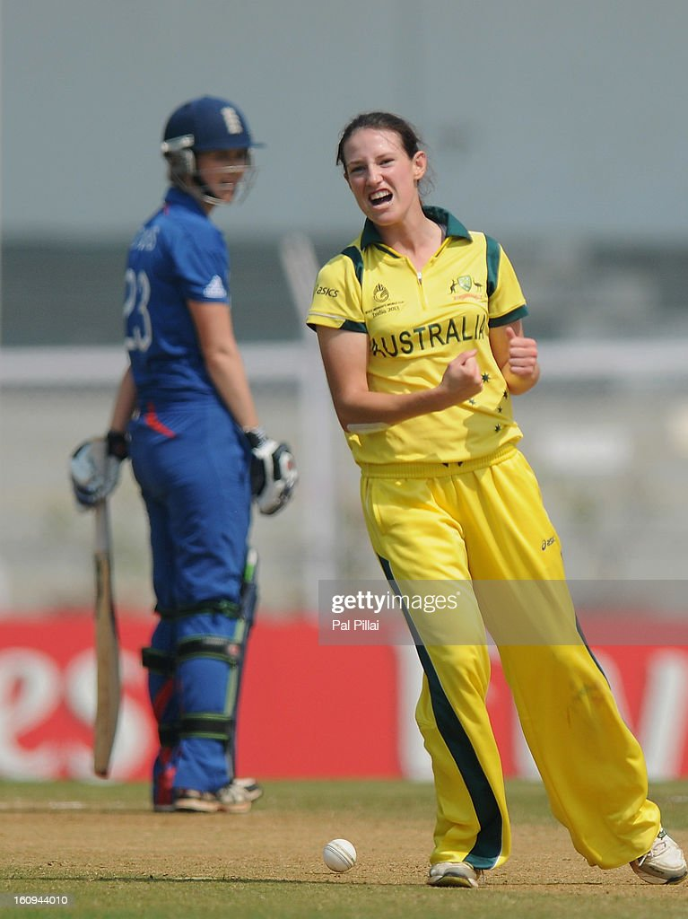 Megan Schutt of Australia celebrates the wicket of Charlotte Edwards captain of Egnland during the super six match between England and Australia held at the CCI (Cricket Club of India) on February 8, 2013 in Mumbai, India.
