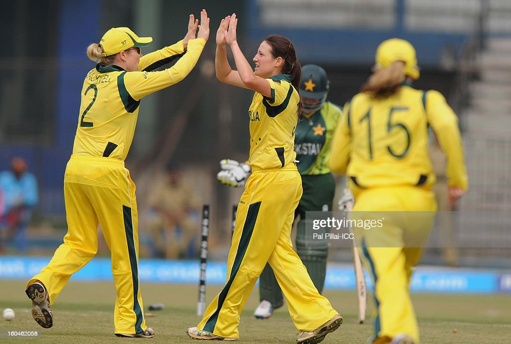 Megan Schutt of Australia (C) celebrates the wicket of Pakistan captain Sana Mir during the second match of ICC Womens World Cup between Australia and Pakistan, played at the Barabati stadium on February 1, 2013 in Cuttack, India.