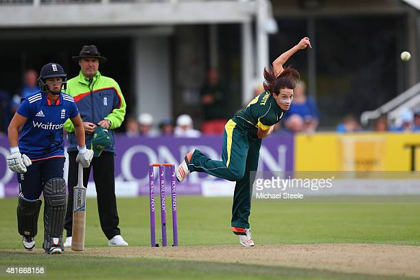 Megan Schutt of Australia in bowling action during the 2nd Royal London ODI of the Women's Ashes Series between England and Australia Women at The...
