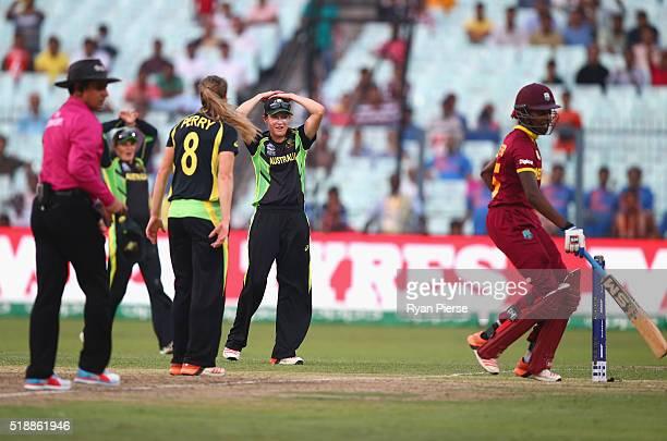 Megan Schutt of Australia misses a run out as west Indies score the winning runs during the Women's ICC World Twenty20 India 2016 Final match between...