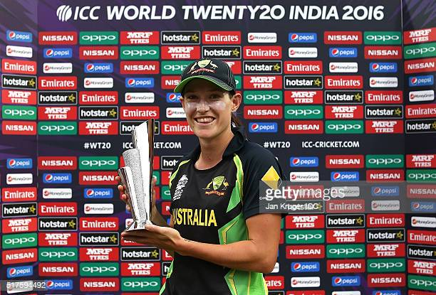 Megan Schutt of Australia poses with the player of the match trophy during the Women's ICC World Twenty20 India 2016 match between Australia and...