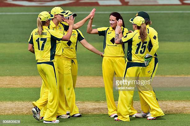 Megan Schutt of Australia reacts after taking a wicket during the women's Twenty20 International match between Australia and India at Adelaide Oval...