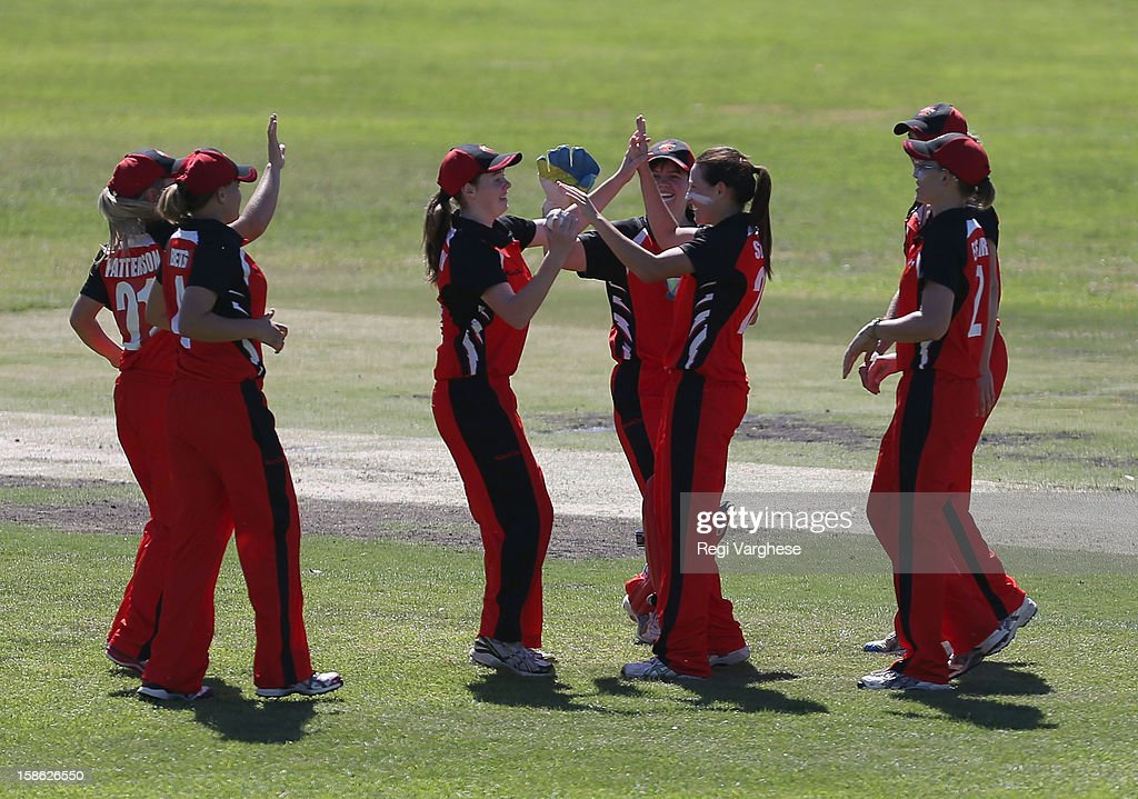 Megan Schutt of Scorpions celebeates the wicket of Leah Poulton during the WNCL match between the South Australia Scorpions and the New South Wales Breakers at Prospect Oval on December 22, 2012 in Adelaide, Australia.