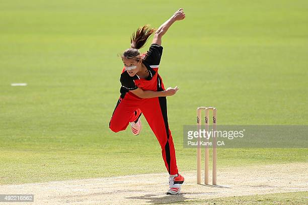 Megan Schutt of South Australia bowls during the round one WNCL match between Western Australia and South Australia at WACA on October 11 2015 in...