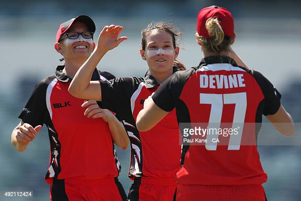 Megan Schutt of South Australia celebrates after the wicket of Rachael Haynes of New South Wales during the round one WNCL match between New South...