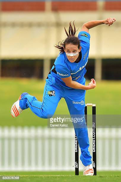 Megan Schutt of the Adelaide Strikers bowls during the WBBL match between the Adelaide Strikers and the Hobart Hurricanes at Gliderol Stadium on...