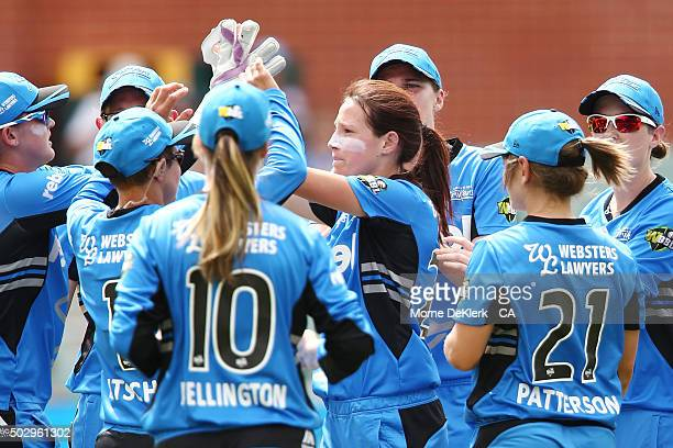 Megan Schutt of the Adelaide Strikers celebrates after getting the wicket of Nicole Bolton of the Perth Scorchers during the Women's Big Bash League...