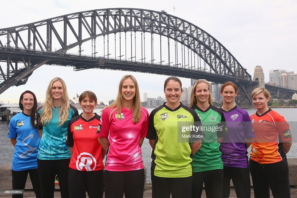 <a gi-track='captionPersonalityLinkClicked' href=/galleries/search?phrase=Megan+Schutt&family=editorial&specificpeople=8558837 ng-click='$event.stopPropagation()'>Megan Schutt</a> of the Adelaide Strikers, <a gi-track='captionPersonalityLinkClicked' href=/galleries/search?phrase=Holly+Ferling&family=editorial&specificpeople=10058807 ng-click='$event.stopPropagation()'>Holly Ferling</a> of the Brisbane Heat, <a gi-track='captionPersonalityLinkClicked' href=/galleries/search?phrase=Sarah+Elliott+-+Cricketspelare&family=editorial&specificpeople=12725636 ng-click='$event.stopPropagation()'>Sarah Elliott</a> of the Melbourne Renegades, <a gi-track='captionPersonalityLinkClicked' href=/galleries/search?phrase=Ellyse+Perry&family=editorial&specificpeople=4414813 ng-click='$event.stopPropagation()'>Ellyse Perry</a> of the Sydney Sixers, <a gi-track='captionPersonalityLinkClicked' href=/galleries/search?phrase=Rene+Farrell&family=editorial&specificpeople=4081063 ng-click='$event.stopPropagation()'>Rene Farrell</a> of the Sydney Thunder, <a gi-track='captionPersonalityLinkClicked' href=/galleries/search?phrase=Meg+Lanning&family=editorial&specificpeople=5656168 ng-click='$event.stopPropagation()'>Meg Lanning</a> of the Melbourne Stars, <a gi-track='captionPersonalityLinkClicked' href=/galleries/search?phrase=Julie+Hunter&family=editorial&specificpeople=2132021 ng-click='$event.stopPropagation()'>Julie Hunter</a> of the Hobart Hurricanes and <a gi-track='captionPersonalityLinkClicked' href=/galleries/search?phrase=Jess+Cameron+-+Cricketspelare&family=editorial&specificpeople=12709381 ng-click='$event.stopPropagation()'>Jess Cameron</a> of the Perth Scorchers pose during the Women's Big Bash League season launch at Luna Park on July 10, 2015 in Sydney, Australia.