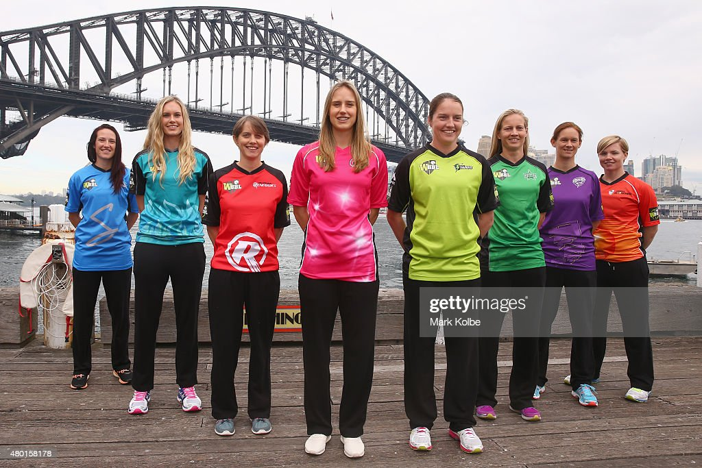 <a gi-track='captionPersonalityLinkClicked' href=/galleries/search?phrase=Megan+Schutt&family=editorial&specificpeople=8558837 ng-click='$event.stopPropagation()'>Megan Schutt</a> of the Adelaide Strikers, <a gi-track='captionPersonalityLinkClicked' href=/galleries/search?phrase=Holly+Ferling&family=editorial&specificpeople=10058807 ng-click='$event.stopPropagation()'>Holly Ferling</a> of the Brisbane Heat, <a gi-track='captionPersonalityLinkClicked' href=/galleries/search?phrase=Sarah+Elliott+-+Cricketspeelster&family=editorial&specificpeople=12725636 ng-click='$event.stopPropagation()'>Sarah Elliott</a> of the Melbourne Renegades, <a gi-track='captionPersonalityLinkClicked' href=/galleries/search?phrase=Ellyse+Perry&family=editorial&specificpeople=4414813 ng-click='$event.stopPropagation()'>Ellyse Perry</a> of the Sydney Sixers, <a gi-track='captionPersonalityLinkClicked' href=/galleries/search?phrase=Rene+Farrell&family=editorial&specificpeople=4081063 ng-click='$event.stopPropagation()'>Rene Farrell</a> of the Sydney Thunder, <a gi-track='captionPersonalityLinkClicked' href=/galleries/search?phrase=Meg+Lanning&family=editorial&specificpeople=5656168 ng-click='$event.stopPropagation()'>Meg Lanning</a> of the Melbourne Stars, <a gi-track='captionPersonalityLinkClicked' href=/galleries/search?phrase=Julie+Hunter&family=editorial&specificpeople=2132021 ng-click='$event.stopPropagation()'>Julie Hunter</a> of the Hobart Hurricanes and <a gi-track='captionPersonalityLinkClicked' href=/galleries/search?phrase=Jess+Cameron+-+Cricketspeler&family=editorial&specificpeople=12709381 ng-click='$event.stopPropagation()'>Jess Cameron</a> of the Perth Scorchers pose during the Women's Big Bash League season launch at Luna Park on July 10, 2015 in Sydney, Australia.