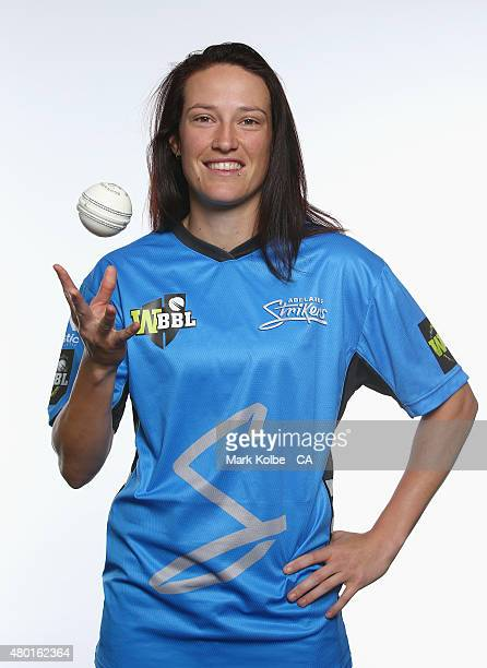 Megan Schutt of the Adelaide Strikers poses during the Women's Big Bash League season launch at Luna Park on July 10 2015 in Sydney Australia