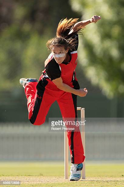 Megan Schutt of the Scorpions bowls during the WT20 match between Victoria and South Australia at Junction Oval on October 10 2014 in Melbourne...