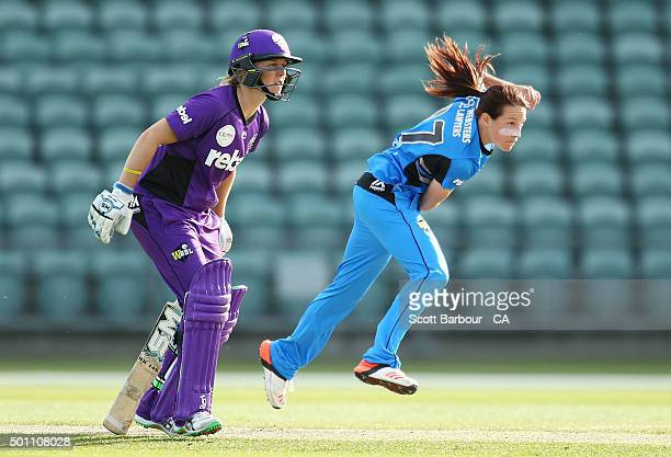Megan Schutt of the Strikers bowls during the Women's Big Bash League match between the Hobart Hurricanes and Adelaide Strikers at Aurora Stadium on...