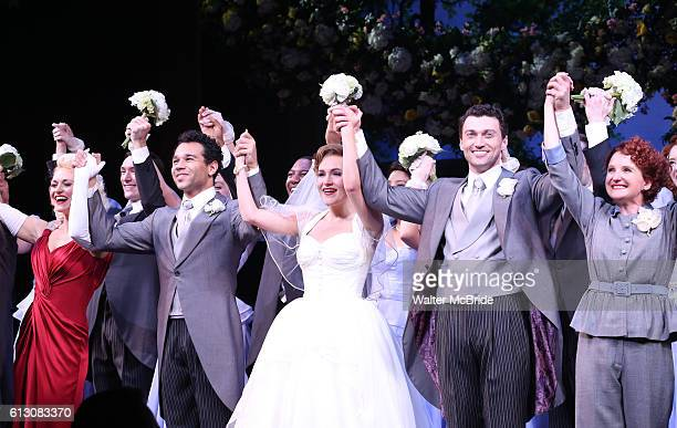 Megan Sikora Corbin Bleu Lora Lee Gayer Bryce Pinkham Megan Lawrence and cast during the Broadway Opening Night Performance Curtain Call for 'Holiday...