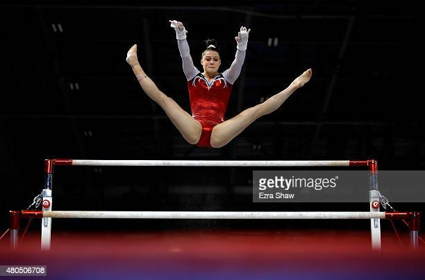 Megan Skaggs of the United States competes on the uneven bars during the women's artistic gymnastics team final and qualifications on Day 2 of the...