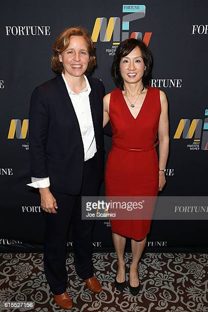Megan Smith and Michelle Lee attend the Fortune Most Powerful Women Summit 2016 at RitzCarlton Laguna Niguel on October 18 2016 in Dana Point...