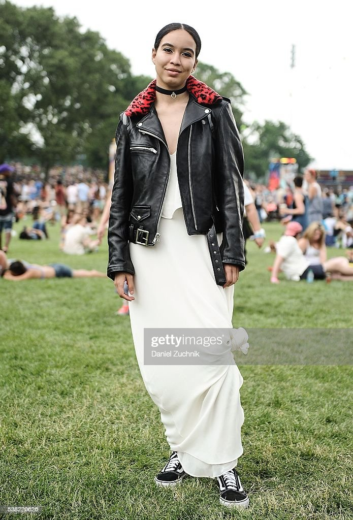 Megan Tatem is seen wearing a Made Me leather bomber jacket, Zara dress and Vans sneakers during Day 2 of the 2016 Governors Ball Music Festival at Randall's Island on June 4, 2016 in New York City.