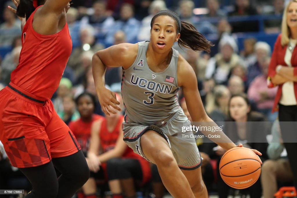 Megan Walker #3 of the Connecticut Huskies drives to the basket defended by Ieshia Small #1 of the Maryland Terrapins during the the UConn Huskies Vs Maryland Terrapins, NCAA Women's Basketball game at the XL Center, Hartford, Connecticut. November 19th, 2017