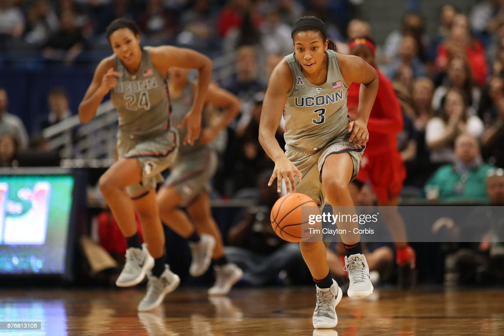 Megan Walker #3 of the Connecticut Huskies in action during the the UConn Huskies Vs Maryland Terrapins, NCAA Women's Basketball game at the XL Center, Hartford, Connecticut. November 19th, 2017