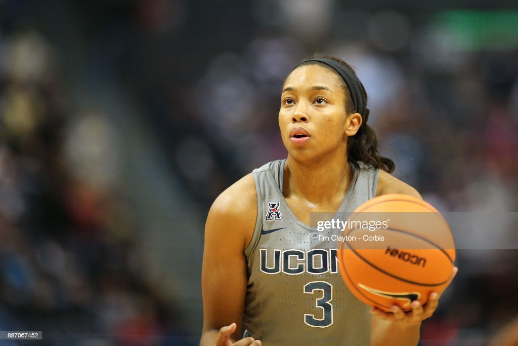 Megan Walker #3 of the Connecticut Huskies in action during the the UConn Huskies Vs Notre Dame, NCAA Women's Basketball game at the XL Center, Hartford, Connecticut. December 3, 2017