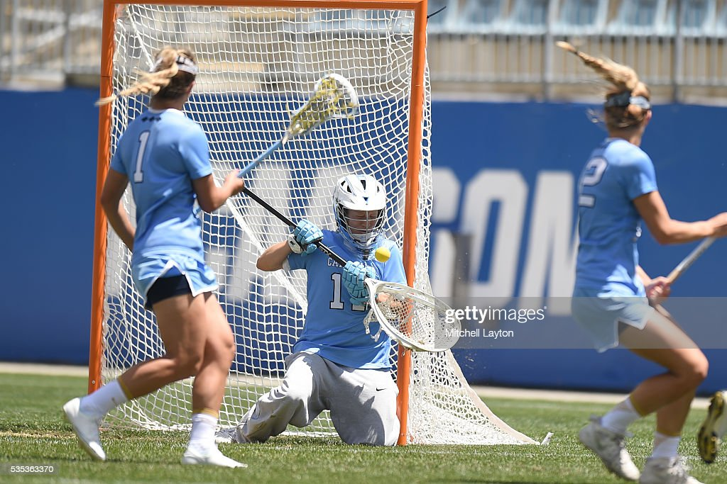 <a gi-track='captionPersonalityLinkClicked' href=/galleries/search?phrase=Megan+Ward&family=editorial&specificpeople=2980699 ng-click='$event.stopPropagation()'>Megan Ward</a> #17 of the North Carolina Tar Heels makes a save during the NCCA Women's Lacrosse Championship game against the North Carolina Tar Heels at Talen Energy Stadium on May 29, 2016 in Chester, Pennsylvania. The Tar Heels won 13-7.