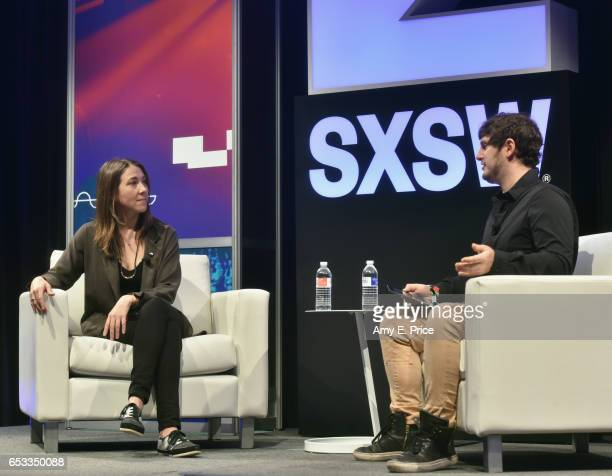 Megan West of SoundCloud and editoratlarge of TechCrunch Josh Constine speak onstage at 'Spotify and the New Music Economy' during 2017 SXSW...