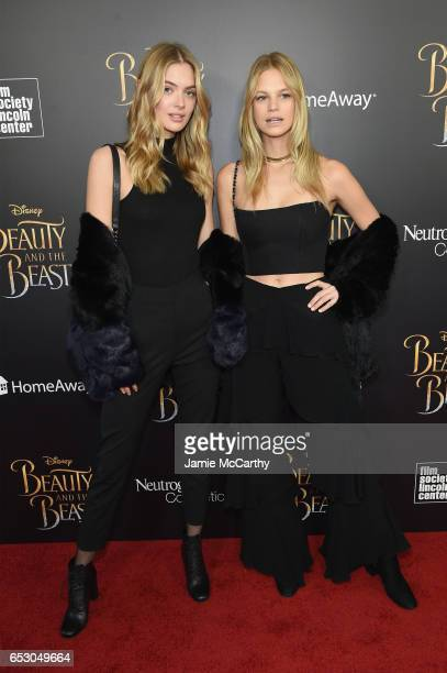 Megan Williams and Nadine Leopold arrive at the New York special screening of Disney's liveaction adaptation 'Beauty and the Beast' at Alice Tully...