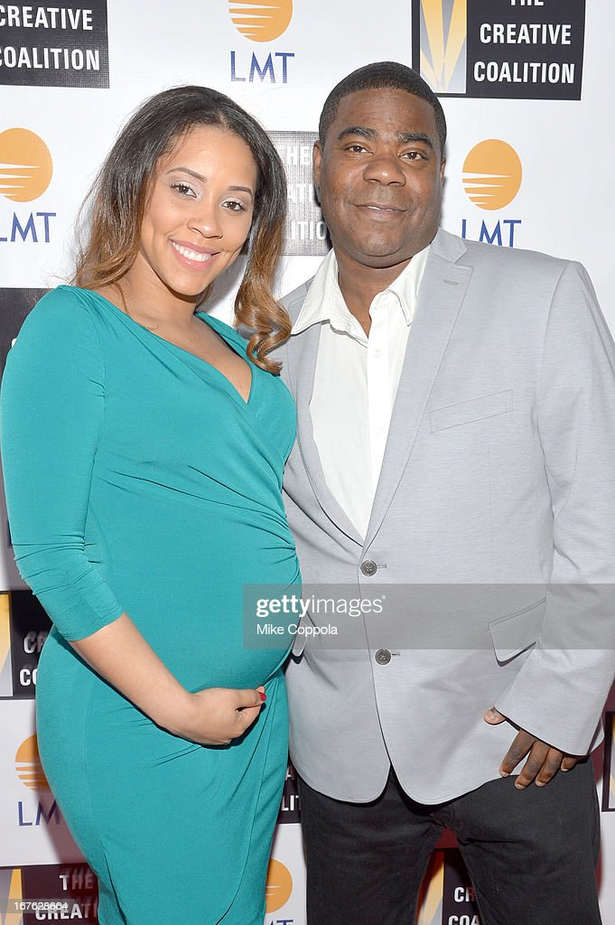 Megan Wollover (L) and comedian <a gi-track='captionPersonalityLinkClicked' href=/galleries/search?phrase=Tracy+Morgan&family=editorial&specificpeople=182428 ng-click='$event.stopPropagation()'>Tracy Morgan</a> attend the Celebrating The Arts In American Dinner Party With Distinguished Women In Media Presented By Landmark Technology Inc. And The Creative Coalition at Neyla on April 26, 2013 in Washington, DC.