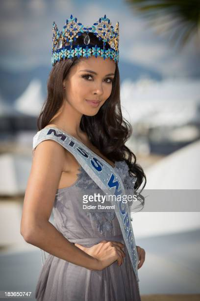 Megan Young Miss World 2013 poses during a photocall at Hotel Majestic on October 8 2013 in Cannes France