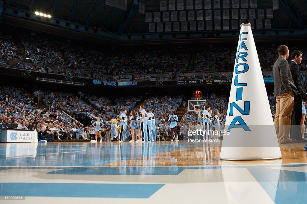 A megaphone of a North Carolina Tar Heels site on the court during a game against the Wake Forest Demon Deacons on February 05, 2013 at the Dean E. Smith Center in Chapel Hill, North Carolina. North Carolina won 62-87.
