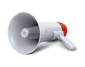 Megaphone on white, clipping path
