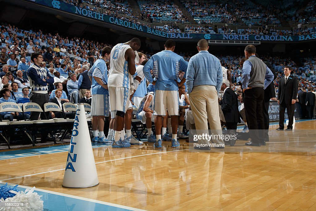 A megaphone sits in front of the bench of the North Carolina Tar Heels during a game against the East Tennessee State Buccaneers on December 8, 2012 at the Dean E. Smith Center in Chapel Hill, North Carolina. North Carolina won 75-55.